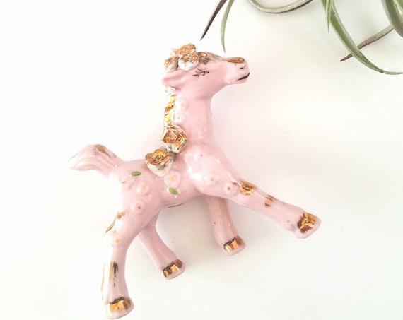 Vintage Porcelain Pink Ceramic Pony
