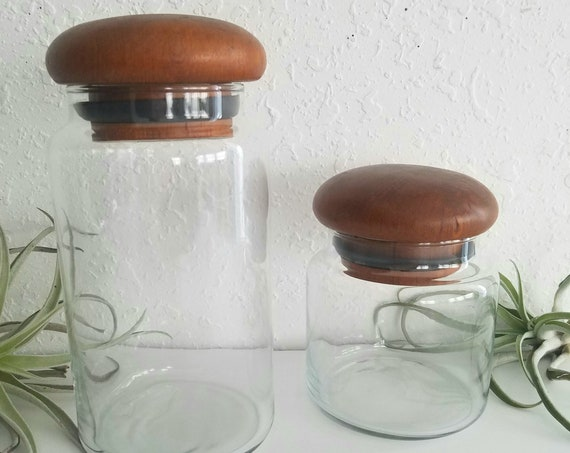 Vintage Set of 2 Glass Canisters with Teakwood Tops