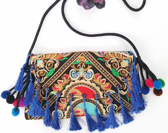 Colorful Chiapaneco Clutch Strap Purse