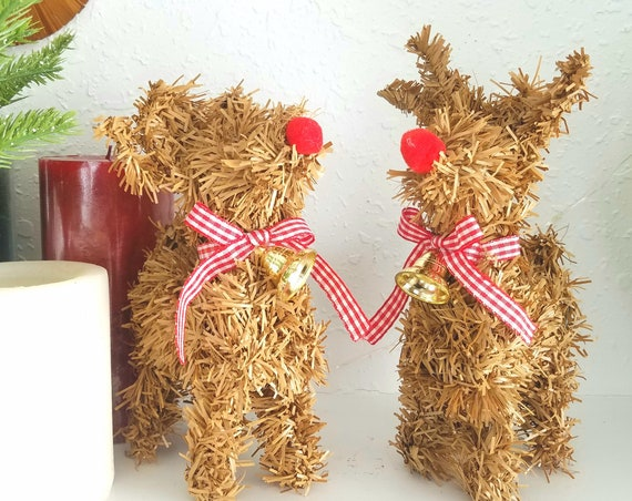 Set of 2 Vintage Brown Faux Pine Reindeer Decoration