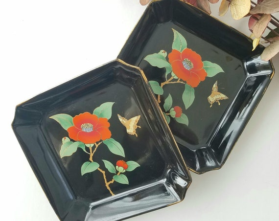 Set of 2 Vintage Black Otagiri Flowers and Butterflies Dishes