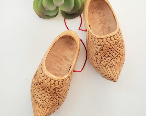 Vintage Small Wood Carved Dutch Clogs