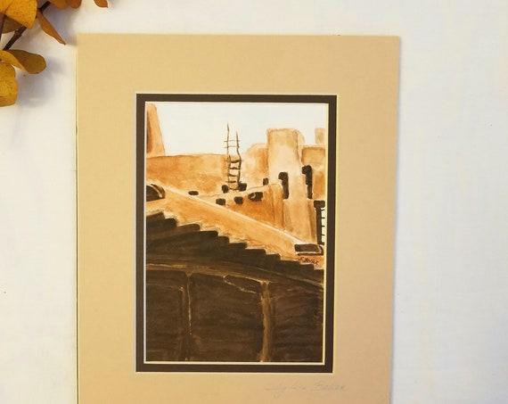 """Southwestern """"Santa Fe"""" Scene Color Artwork from the Artist Bellak"""