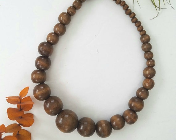 Brown Wood Bead Stretch Necklace