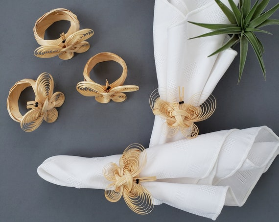 Beautiful Vintage Set of 6 Straw Butterfly Napkin Rings