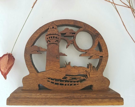 Vintage Wood Carved Lighthouse with Full Moon