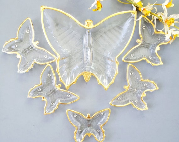 Mid Century Vintage Set of 6 Jeannette Glass Butterfly Dishes