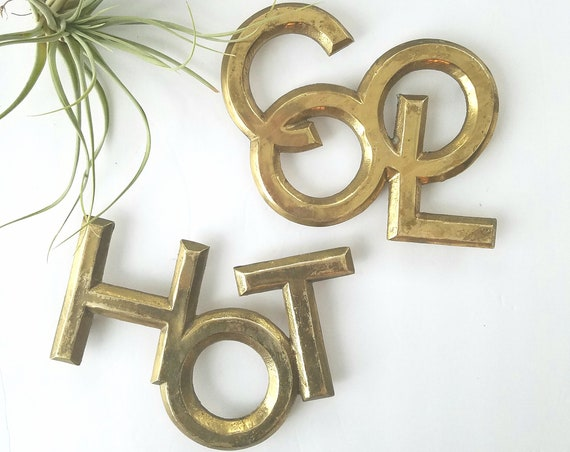 Vintage Set of 2 Brass Hot/Cool Trivets