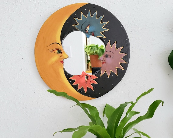 Round Wooden Mirror with the Moon and Stars