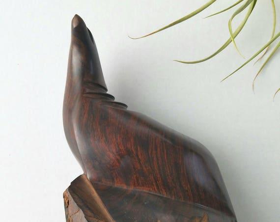 Solid Dark Wood Carved Seal