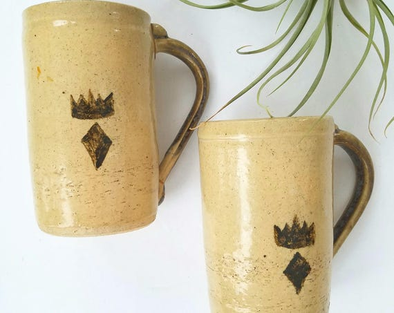 Vintage Set of 2 Handmade Tall Ceramic Mugs