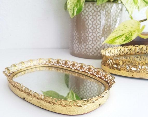 Vintage Rectangular Brass Filigree Tray