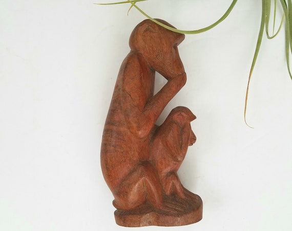 Vintage Solid Wood Baboons Mother and Child