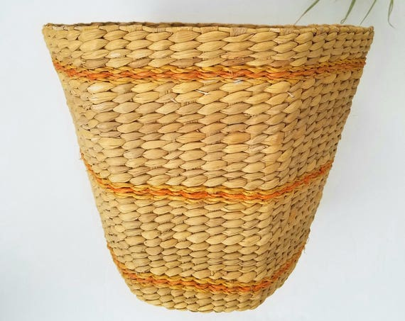 Vintage Wicker Hexagon Shaped Orange Striped Basket