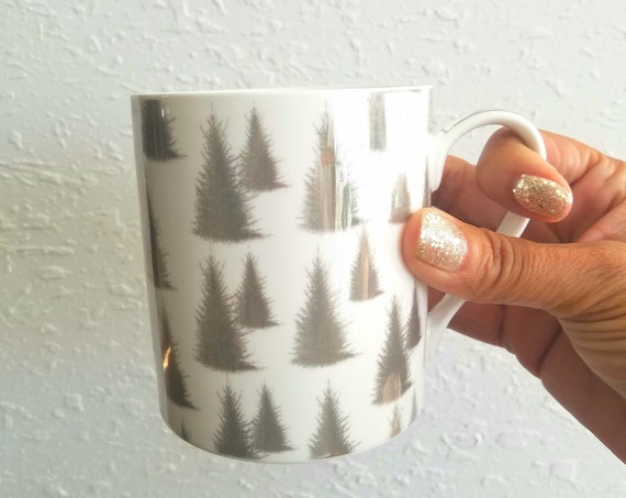 White and Silver Trees Holiday Mug
