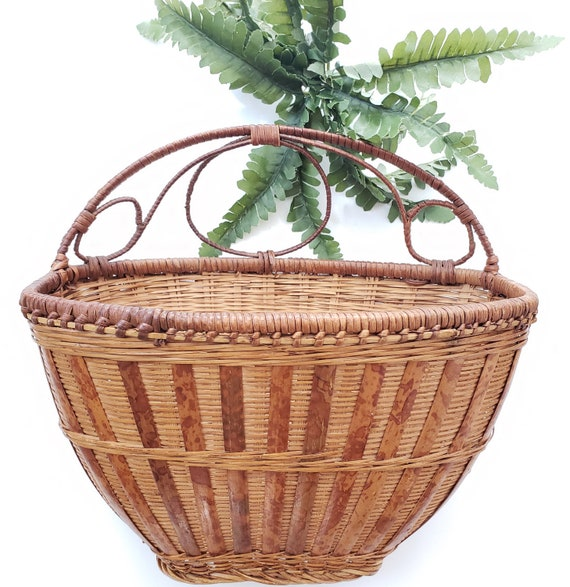 Brown Wicker Vintage Plant Holder