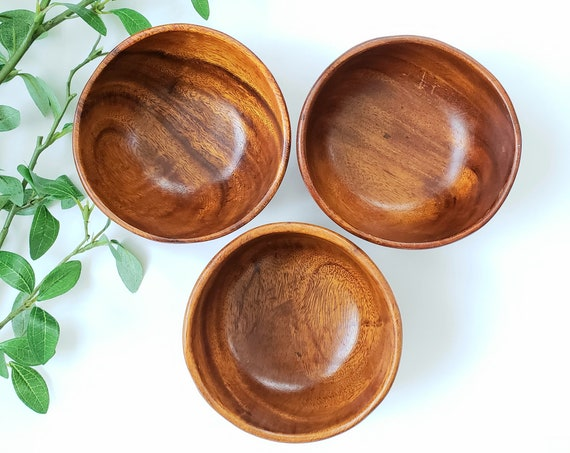 Wood Set of 3 Vintage Monkeypod Bowls