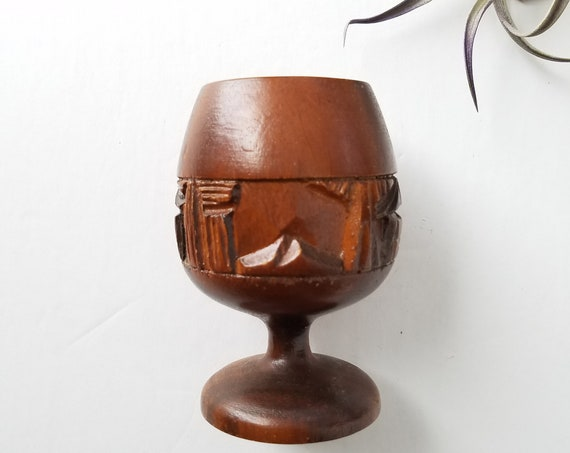 Vintage Mini Wood Goblet