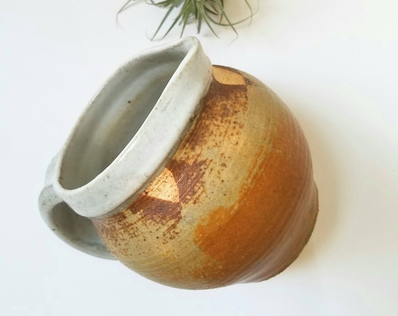 Fat Round Earthtone Handmade Ceramic  Pitcher