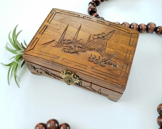 Vintage Wood Carved Jewelry Box