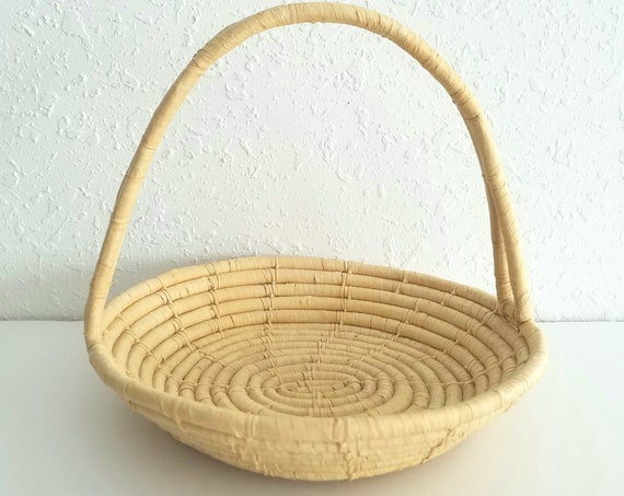Vintage Raffia Coiled Basket with Handle