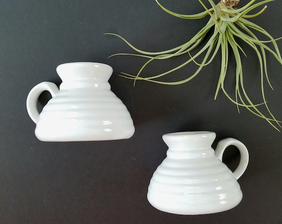 Vintage White Ceramic No Spill Bottom Belly Mugs