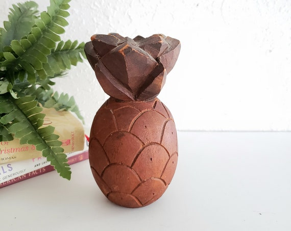 Small Wood Pineapple Candlestick