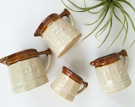 Vintage Handmade Ceramic Measuring Cups