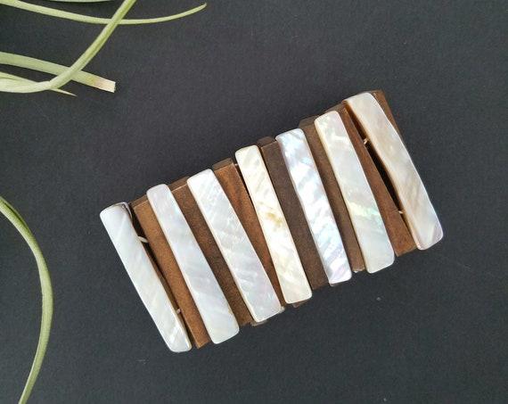 Vintage Bohemian Wood and Shell Stretch Bracelet