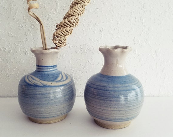 Vintage Set of 2 Blue Ceramic Bud Vases
