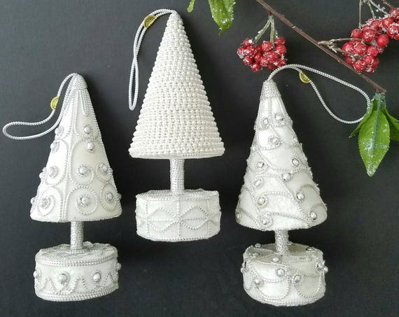 Vintage Set of 3 White Decorative Christmas Trees