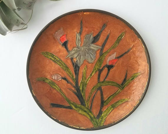 Lacquered Vintage Painted Brass Plate