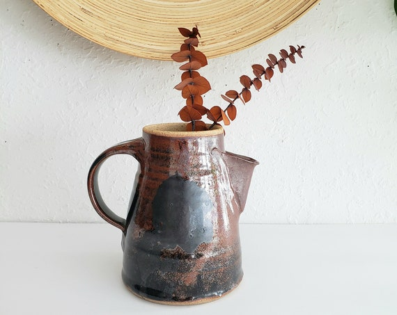 Vintage Handcrafted Studio Pottery Brown Pitcher