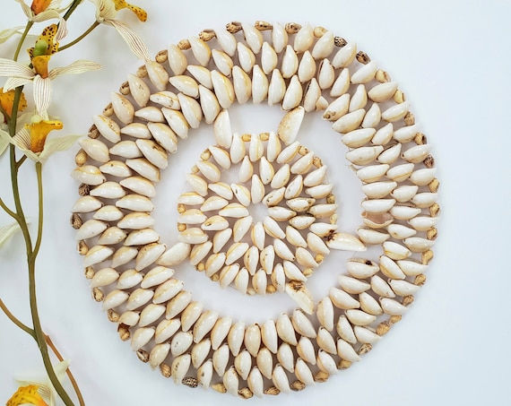 Round Vintage Cowrie  Shell Trivet/ Wall Hanging
