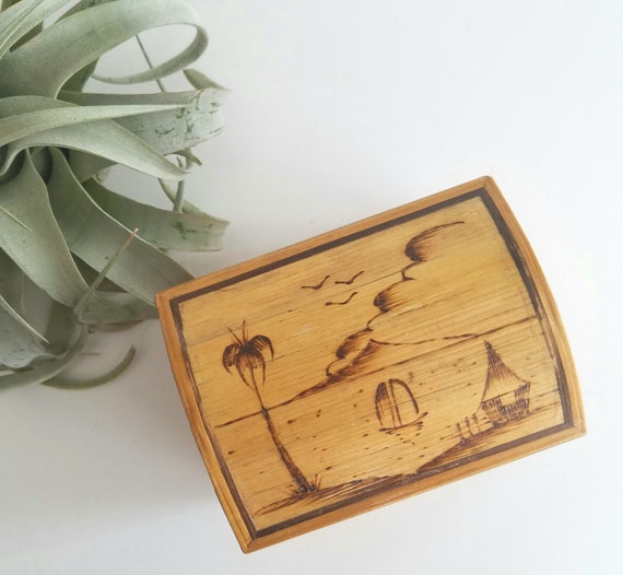 Delicate Wood Stick Box with Tropical Scene Top