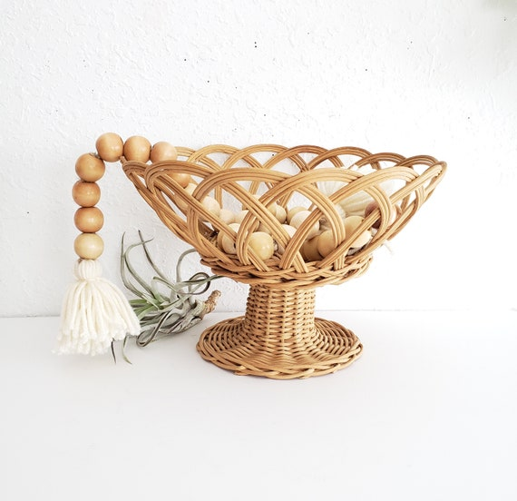 Vintage Wicker Pedestal Basket