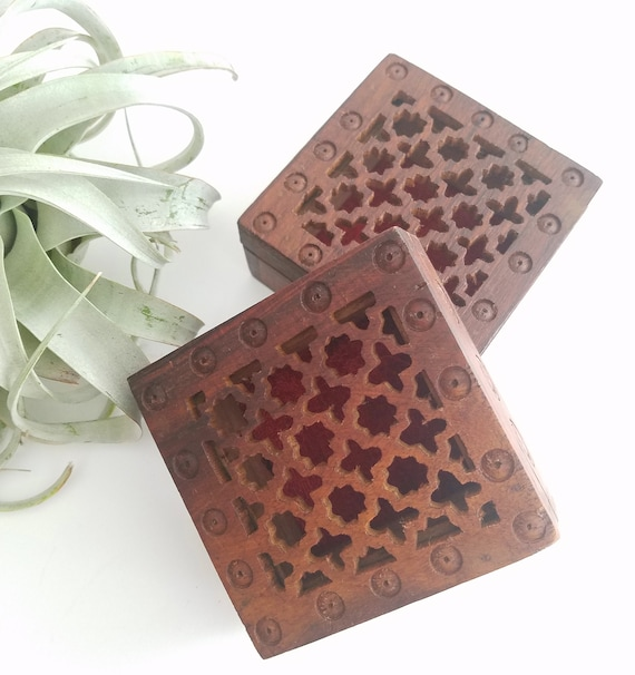 Square Carved Wood Boxes
