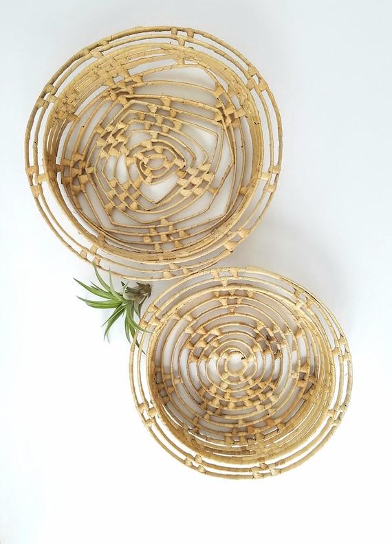 Unique Vintage Raffia Wrapped Set of Two Baskets