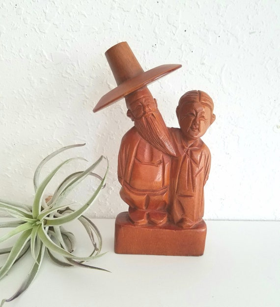Vintage Wood Carved Asian Man/Woman Husband/Wife