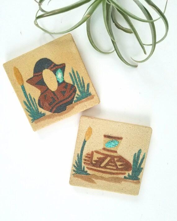 Set of 2 Vintage Southwestern Sand Scene Tiles/Trivets