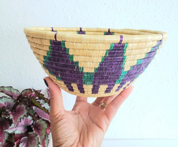 Vintage Raffia Wrapped Bowl with Purple Design