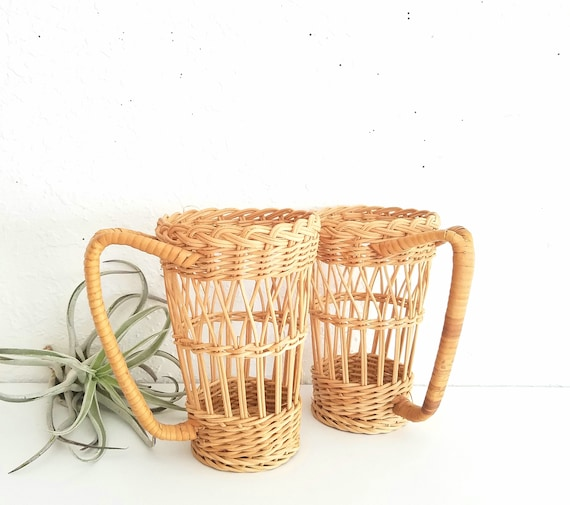 Vintage Wicker Large Cup Holders