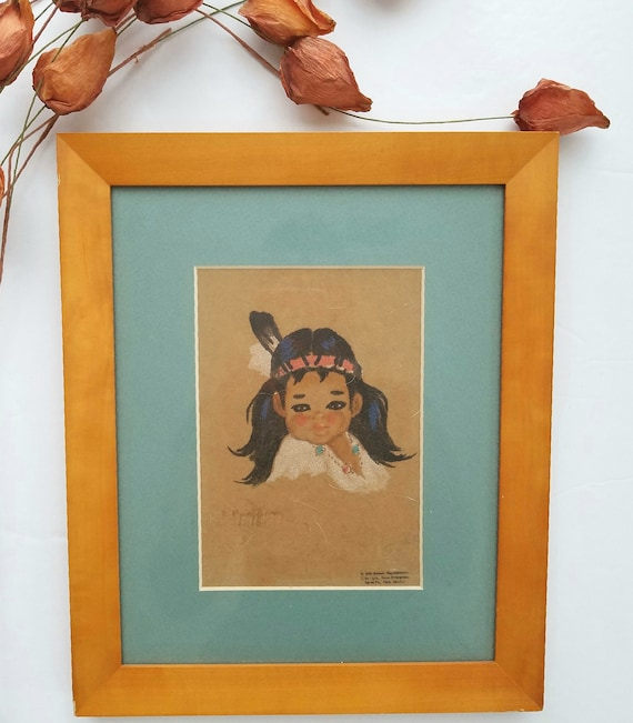 Delicate Vintage Gerda Christofferson Young Indian girl with Feather Artwork