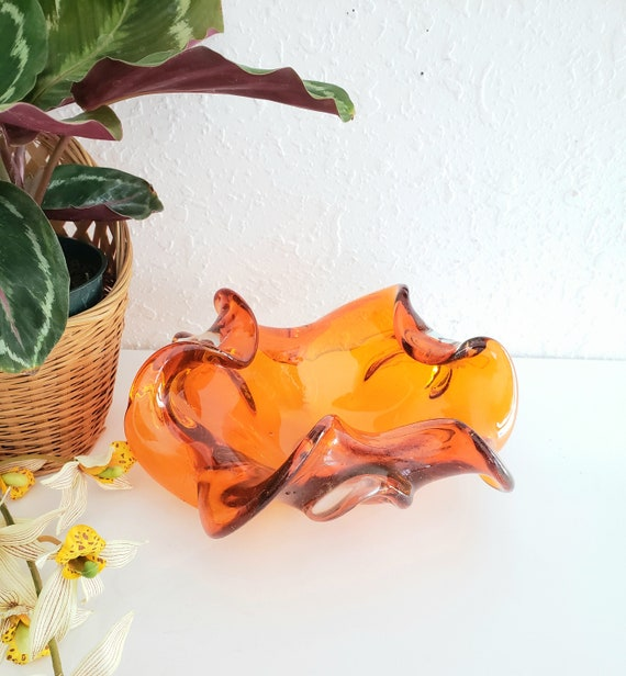Vintage Murano Orange Glass Ashtray/ Trinket Dish