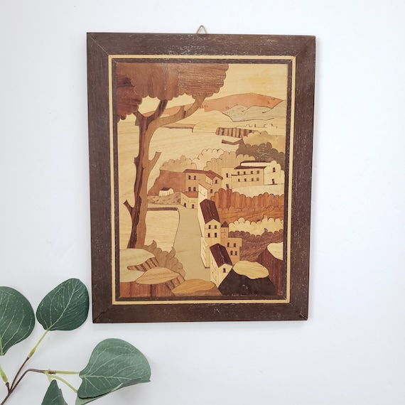 Inly Wood Village Scene Wall Hanging