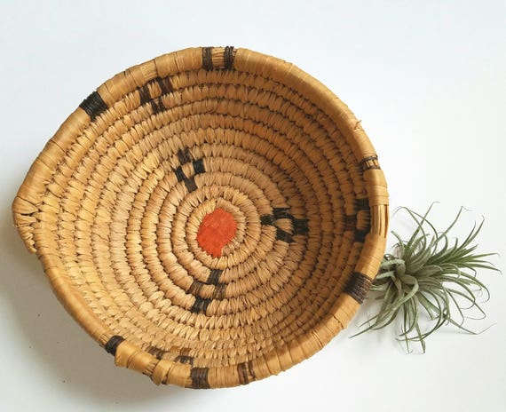 Round Beige and Brown Palm Leaf Basket