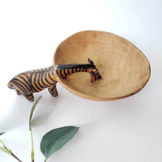 Vintage Wood Carved Zebra Watering Hole Bowl