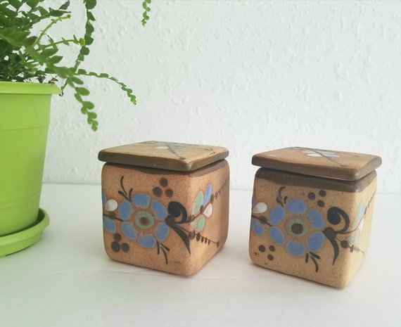 Set of 2 Vintage Tonala Mexican Small Boxes