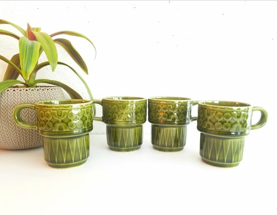 Vintage Set of 4 Green Glazed Stackable  Mugs