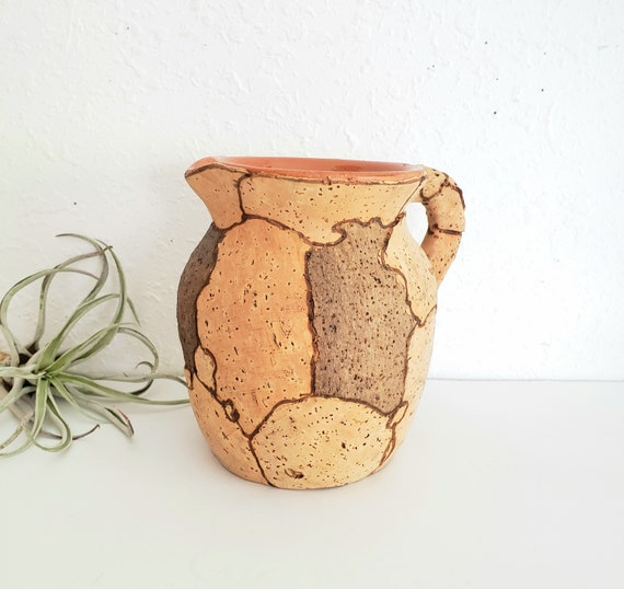 Vintage Cork Wrapped Ceramic Pitcher
